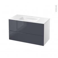 IRIS Bleu Gris - Meuble salle de bains N°651 - Vasque VALA - 2 tiroirs  - L100,5xH58,2xP50,5