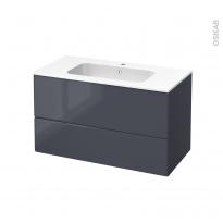 IRIS Bleu Gris - Meuble salle de bains N°652 - Vasque REZO - 2 tiroirs  - L100,5xH58,5xP50,5