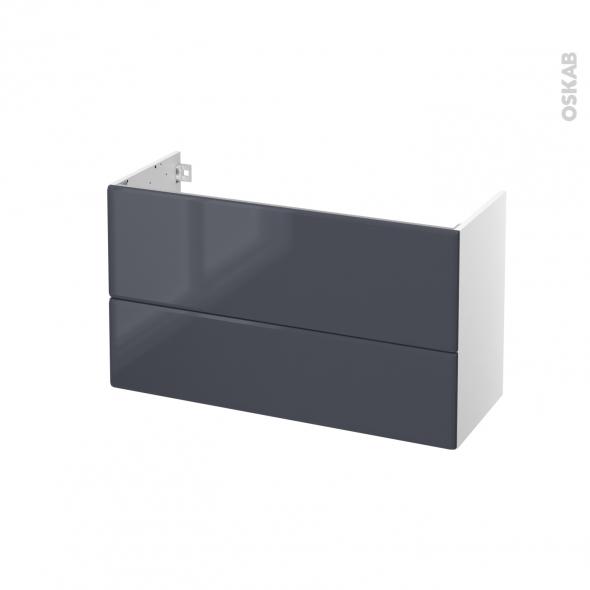 IRIS Bleu Gris - Meuble sous vasque N°651 - Côté blanc - 2 tiroirs prof.40 - L100xH57xP40