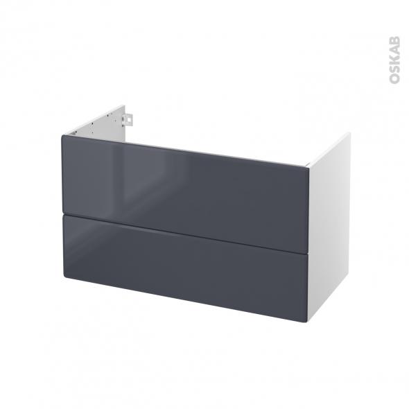 IRIS Bleu Gris - Meuble sous vasque N°651 - Côté blanc - 2 tiroirs - L100xH57xP50