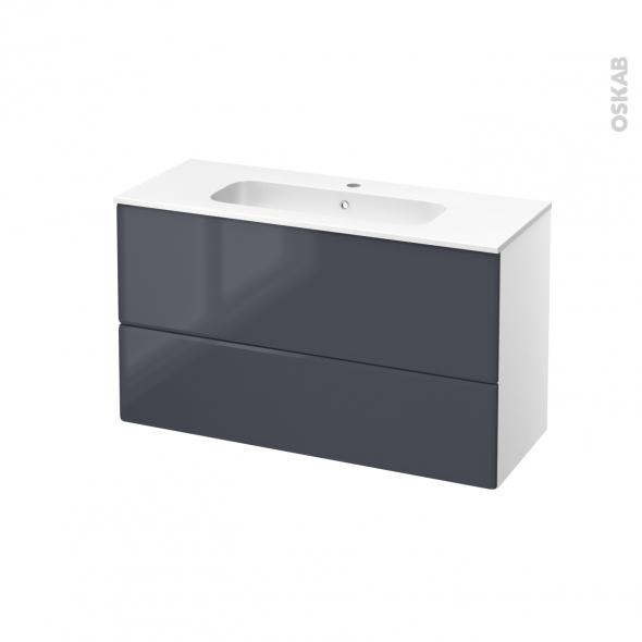 IRIS Bleu Gris - Meuble salle de bains N°651 - Vasque REZO - 2 tiroirs Prof.40 - L100,5xH58,5xP40,5