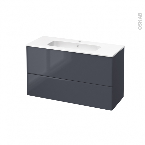 IRIS Bleu Gris - Meuble salle de bains N°652 - Vasque REZO - 2 tiroirs Prof.40 - L100,5xH58,5xP40,5