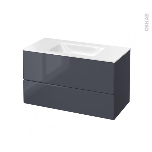 IRIS Bleu Gris - Meuble salle de bains N°652 - Vasque VALA - 2 tiroirs  - L100,5xH58,2xP50,5