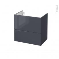 IRIS Bleu Gris - Meuble sous vasque N°622 - Côté décor - 2 tiroirs prof.40 - L60xH57xP40