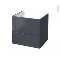 IRIS Bleu Gris - Meuble sous vasque N°622 - Côté décor - 2 tiroirs - L60xH57xP50