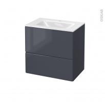 IRIS Bleu Gris - Meuble salle de bains N°622 - Vasque VALA - 2 tiroirs Prof.40 - L60,5xH58,2xP40,5