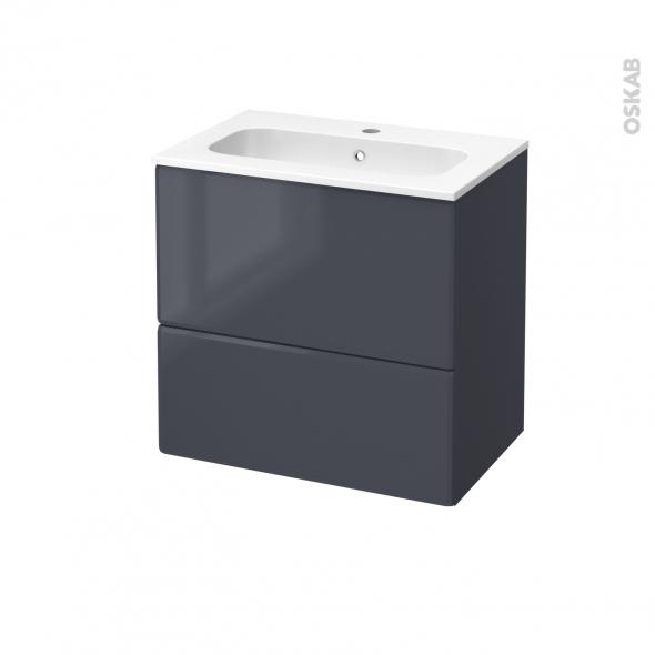 IRIS Bleu Gris - Meuble salle de bains N°622 - Vasque REZO - 2 tiroirs Prof.40 - L60,5xH58,5xP40,5