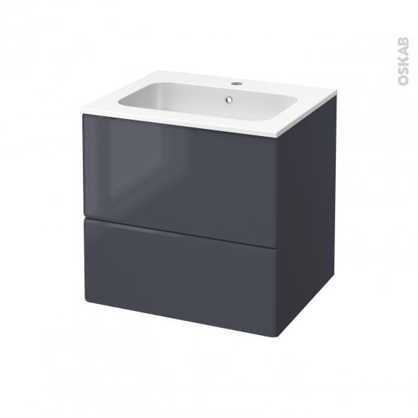 IRIS Bleu Gris - Meuble salle de bains N°622 - Vasque REZO - 2 tiroirs  - L60,5xH58,5xP50,5