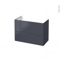 IRIS Bleu Gris - Meuble sous vasque N°632 - Côté décor - 2 tiroirs prof.40 - L80xH57xP40