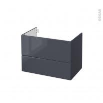 IRIS Bleu Gris - Meuble sous vasque N°632 - Côté décor - 2 tiroirs - L80xH57xP50
