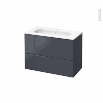 IRIS Bleu Gris - Meuble salle de bains N°632 - Vasque REZO - 2 tiroirs Prof.40 - L80,5xH58,5xP40,5