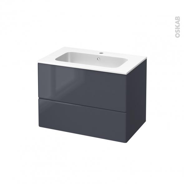 IRIS Bleu Gris - Meuble salle de bains N°632 - Vasque REZO - 2 tiroirs  - L80,5xH58,5xP50,5