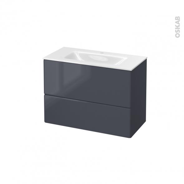 IRIS Bleu Gris - Meuble salle de bains N°632 - Vasque VALA - 2 tiroirs Prof.40 - L80,5xH58,2xP40,5