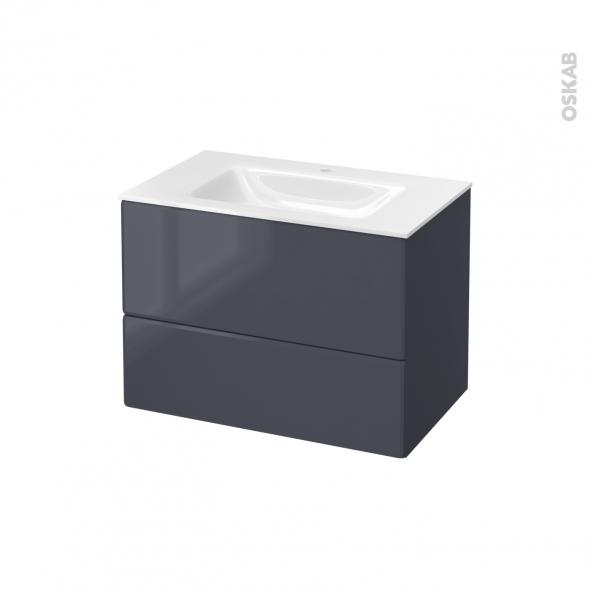 IRIS Bleu Gris - Meuble salle de bains N°632 - Vasque VALA - 2 tiroirs  - L80,5xH58,2xP50,5