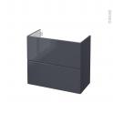 IRIS Bleu Gris - Meuble sous vasque N°602 - Côté décor - 2 tiroirs prof.40 - L80xH70xP40
