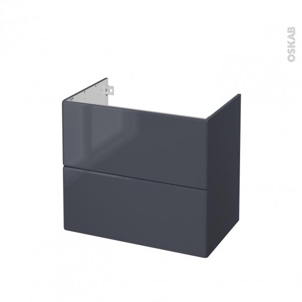 IRIS Bleu Gris - Meuble sous vasque N°602 - Côté décor - 2 tiroirs - L80xH70xP50
