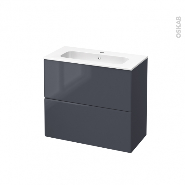 IRIS Bleu Gris - Meuble salle de bains N°602 - Vasque REZO - 2 tiroirs Prof.40 - L80,5xH71,5xP40,5