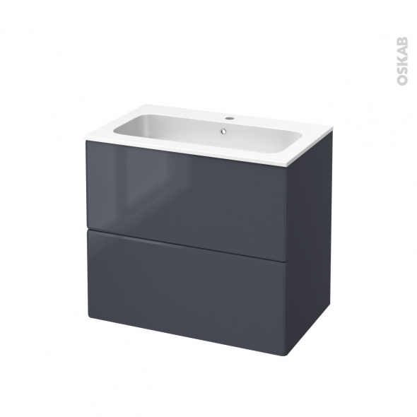 IRIS Bleu Gris - Meuble salle de bains N°602 - Vasque REZO - 2 tiroirs  - L80,5xH71,5xP50,5