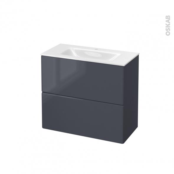 IRIS Bleu Gris - Meuble salle de bains N°602 - Vasque VALA - 2 tiroirs Prof.40 - L80,5xH71,2xP40,5