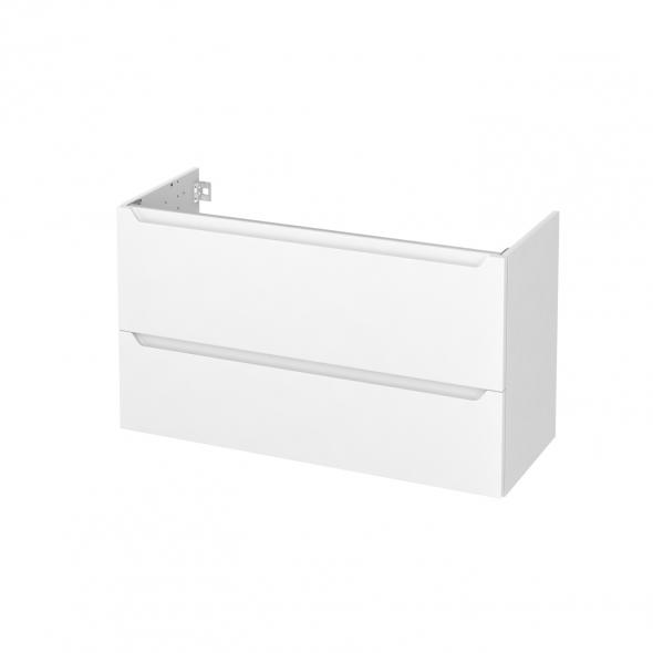 PIMA Blanc - Meuble sous vasque N°651 - Côté blanc - 2 tiroirs prof.40 - L100xH57xP40