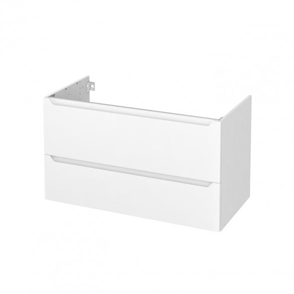 Meuble de salle de bains - Sous vasque - PIMA Blanc - 2 tiroirs - Côtés blancs - L100 x H57 x P50 cm