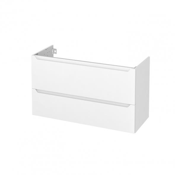Meuble de salle de bains - Sous vasque - PIMA Blanc - 2 tiroirs - Côtés décors - L100 x H57 x P40 cm