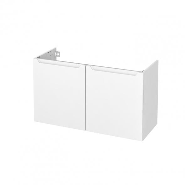 PIMA Blanc - Meuble sous vasque N°661 - Côté blanc - 2 portes prof.40 - L100xH57xP40