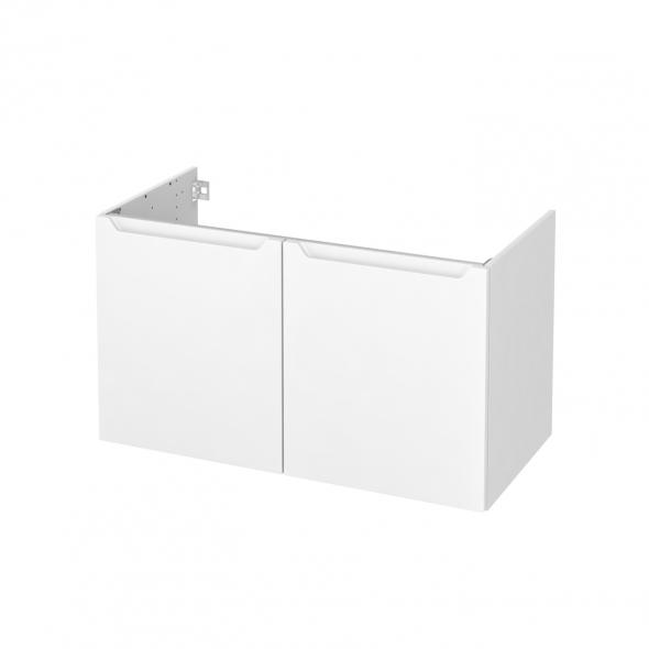 Meuble de salle de bains - Sous vasque - PIMA Blanc - 2 portes - Côtés blancs - L100 x H57 x P50 cm