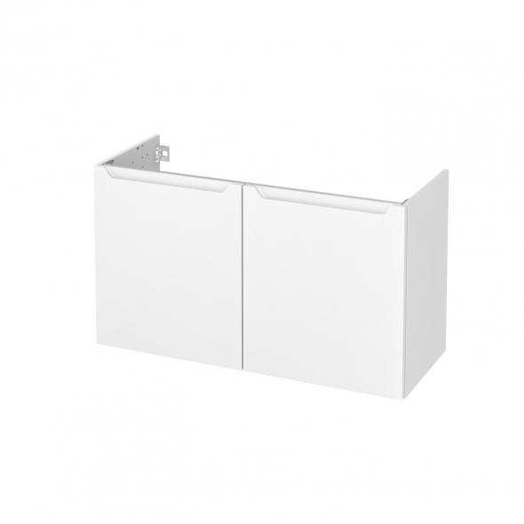 PIMA Blanc - Meuble sous vasque N°662 - Côté décor - 2 portes prof.40 - L100xH57xP40