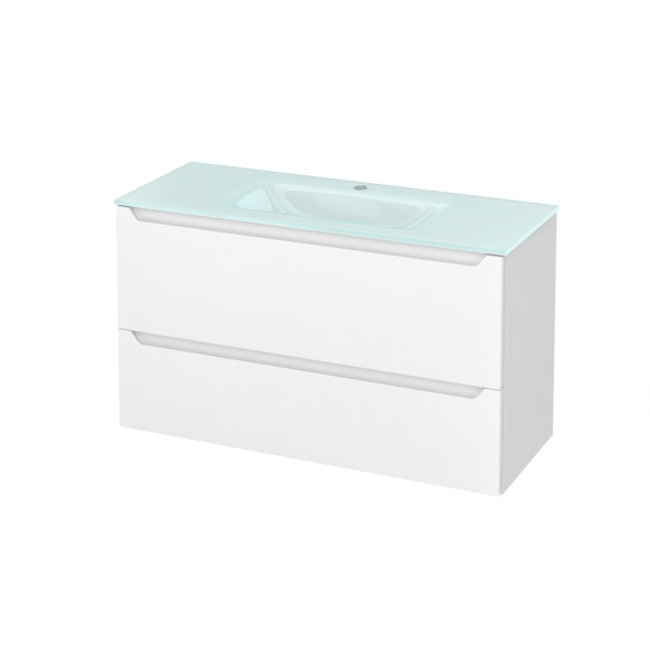 Meuble de salle de bains - Plan vasque EGEE - PIMA Blanc - 2 tiroirs - Côtés blancs - L100,5 x H58,2 x P40,5 cm