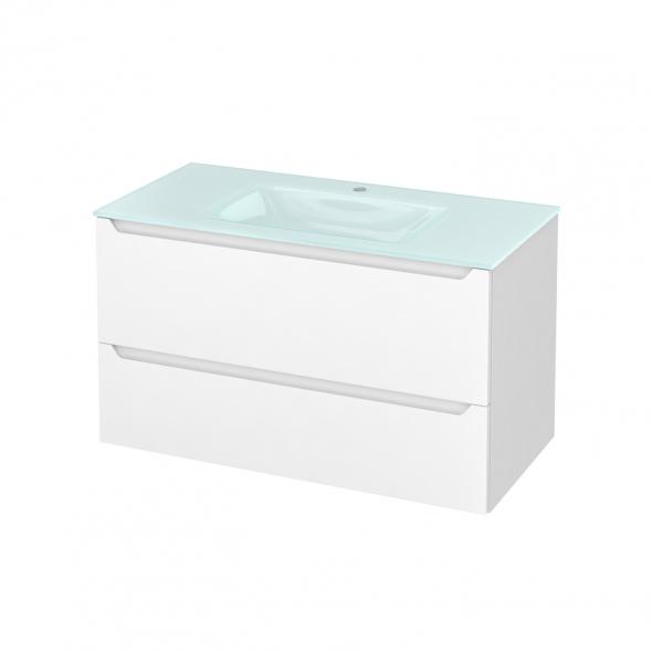 Meuble de salle de bains - Plan vasque EGEE - PIMA Blanc - 2 tiroirs - Côtés blancs - L100,5 x H58,2 x P50,5 cm