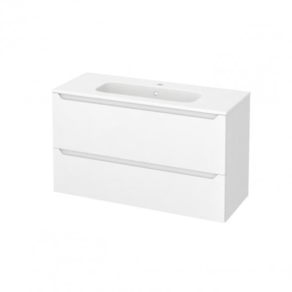 Meuble de salle de bains - Plan vasque REZO - PIMA Blanc - 2 tiroirs - Côtés blancs - L100,5 x H58,5 x P40,5 cm