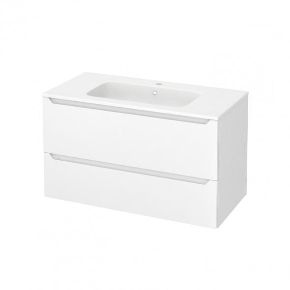 Meuble de salle de bains - Plan vasque REZO - PIMA Blanc - 2 tiroirs - Côtés blancs - L100,5 x H58,5 x P50,5 cm