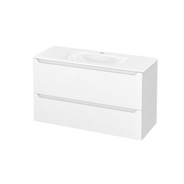 PIMA Blanc - Meuble salle de bains N°651 - Vasque VALA - 2 tiroirs Prof.40 - L100,5xH58,2xP40,5