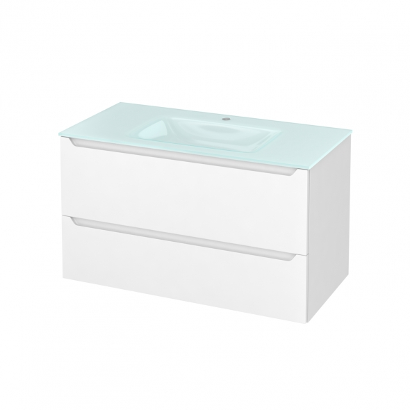 PIMA Blanc - Meuble salle de bains N°652 - Vasque EGEE - 2 tiroirs  - L100,5xH58,2xP50,5