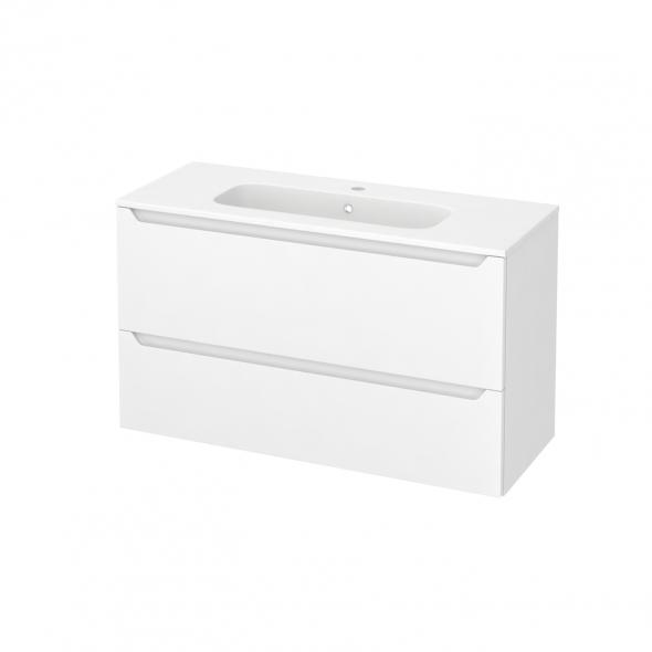 PIMA Blanc - Meuble salle de bains N°652 - Vasque REZO - 2 tiroirs Prof.40 - L100,5xH58,5xP40,5