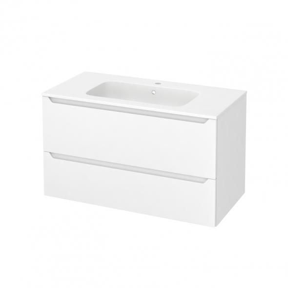 Meuble de salle de bains - Plan vasque REZO - PIMA Blanc - 2 tiroirs - Côtés décors - L100,5 x H58,5 x P50,5 cm