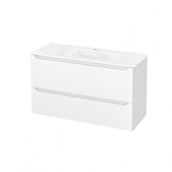 Meuble de salle de bains - Plan vasque VALA - PIMA Blanc - 2 tiroirs - Côtés décors - L100,5 x H58,2 x P40,5 cm