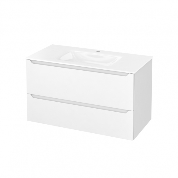 Meuble de salle de bains - Plan vasque VALA - PIMA Blanc - 2 tiroirs - Côtés décors - L100,5 x H58,2 x P50,5 cm