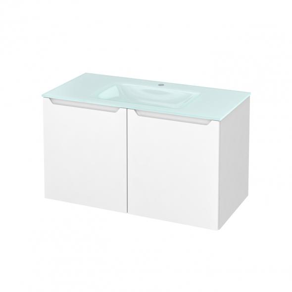 Meuble de salle de bains - Plan vasque EGEE - PIMA Blanc - 2 portes - Côtés blancs - L100,5 x H58,2 x P50,5 cm