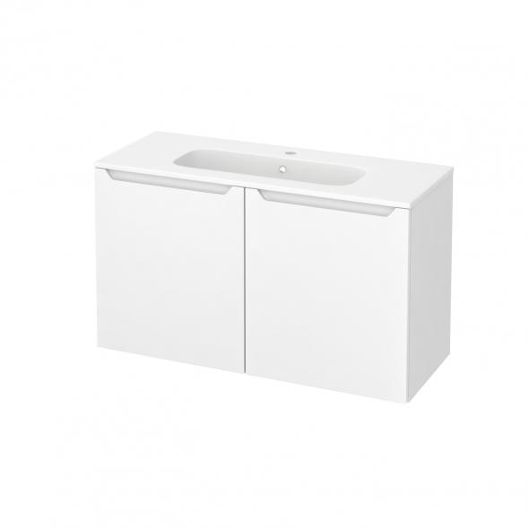 Meuble de salle de bains - Plan vasque REZO - PIMA Blanc - 2 portes - Côtés blancs - L100,5 x H58,5 x P40,5 cm