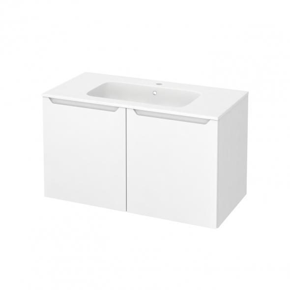 Meuble de salle de bains - Plan vasque REZO - PIMA Blanc - 2 portes - Côtés blancs - L100,5 x H58,5 x P50,5 cm