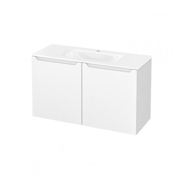 Meuble de salle de bains - Plan vasque VALA - PIMA Blanc - 2 portes - Côtés blancs - L100,5 x H58,2 x P40,5 cm