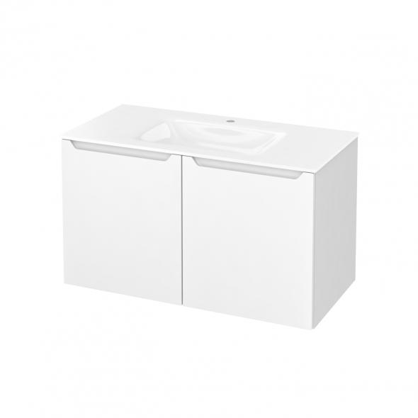 Meuble de salle de bains - Plan vasque VALA - PIMA Blanc - 2 portes - Côtés blancs - L100,5 x H58,2 x P50,5 cm