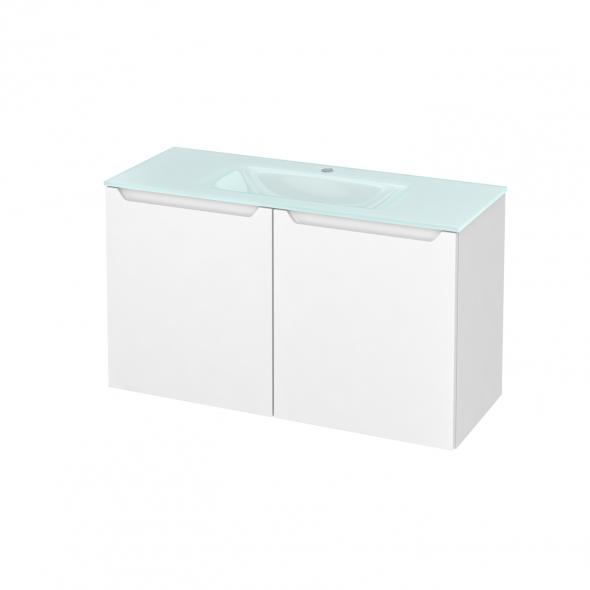 Meuble de salle de bains - Plan vasque EGEE - PIMA Blanc - 2 portes - Côtés décors - L100,5 x H58,2 x P40,5 cm