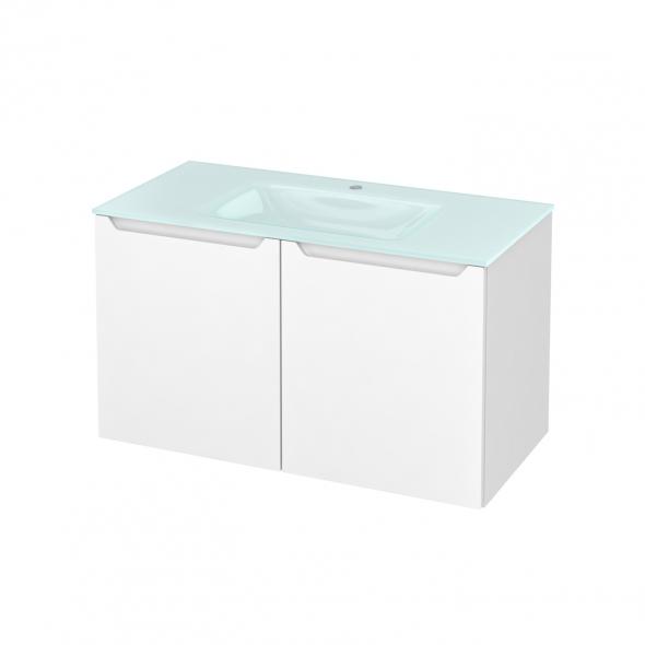 Meuble de salle de bains - Plan vasque EGEE - PIMA Blanc - 2 portes - Côtés décors - L100,5 x H58,2 x P50,5 cm