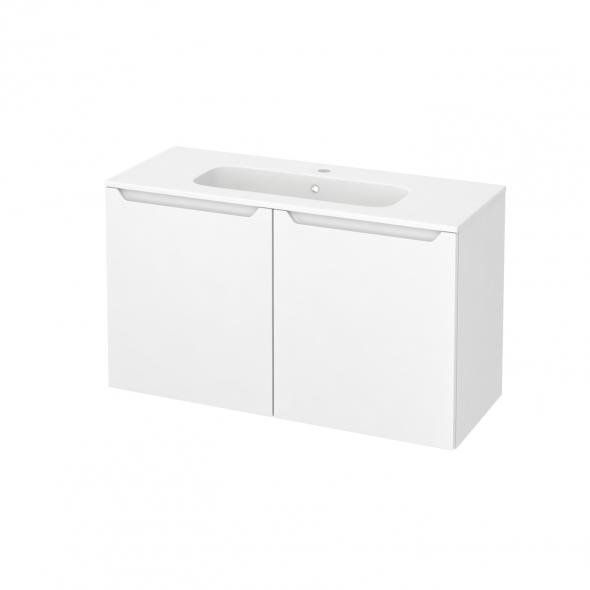 PIMA Blanc - Meuble salle de bains N°662 - Vasque REZO - 2 portes Prof.40 - L100,5xH58,5xP40,5