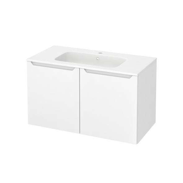 Meuble de salle de bains - Plan vasque REZO - PIMA Blanc - 2 portes - Côtés décors - L100,5 x H58,5 x P50,5 cm