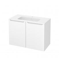 Meuble de salle de bains - Plan vasque REZO - PIMA Blanc - 2 portes - Côtés décors - L100,5 x H71,5 x P50,5 cm