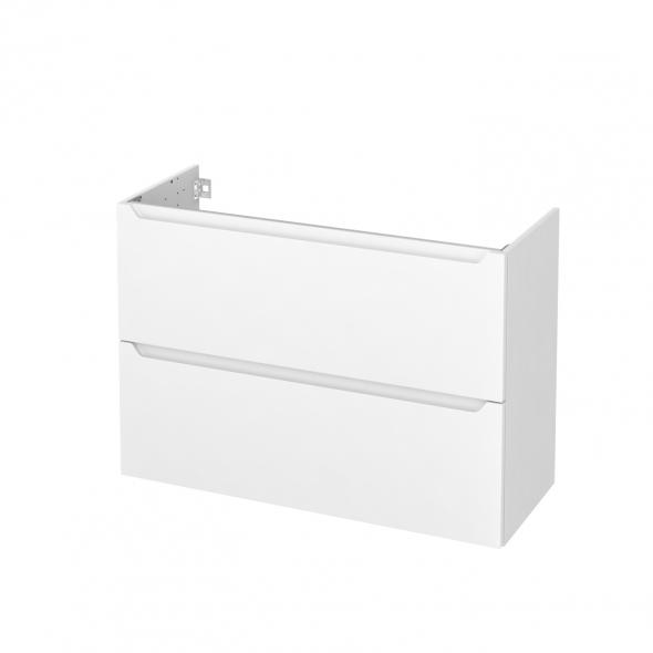 Meuble de salle de bains - Sous vasque - PIMA Blanc - 2 tiroirs - Côtés blancs - L100 x H70 x P40 cm